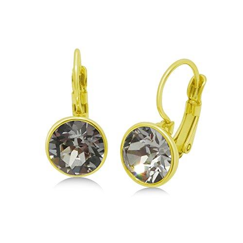 Swarovski Crystal Leverback Earrings - 8mm Dangling Navette; 15X Yellow Gold Plated (Golden (Bezel Golden Earrings)