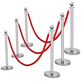 Mefeir 6PCS Queue Pole Barrier Crowd Control Barrier Security Fence Stainless Steel Ball Top Retractable Belt Stanchion Posts/6.5 Feet Red Velvet Rope VIP (6PCS, Silver)