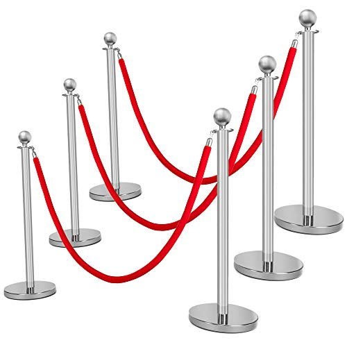 (Mefeir 6PCS Queue Pole Barrier Crowd Control Barrier Security Fence Stainless Steel Ball Top Retractable Belt Stanchion Posts/6.5 Feet Red Velvet Rope VIP (6PCS, Silver))