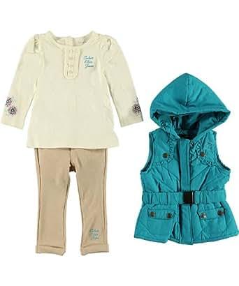 Calvin Klein Infant Girls Hooded Vest 3Pc Jegging Pant Set (12M)
