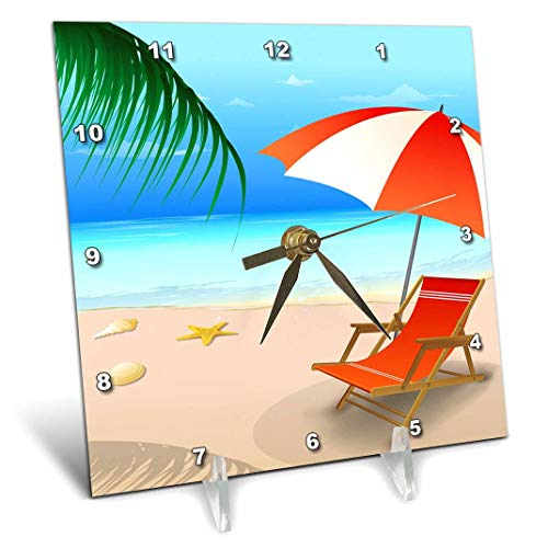 (3dRose Blue and Sandy Beach Scene with Beach Lounger and Umbrella in Orange and White - Desk Clock, 6 by 6-Inch (dc_111556_1))