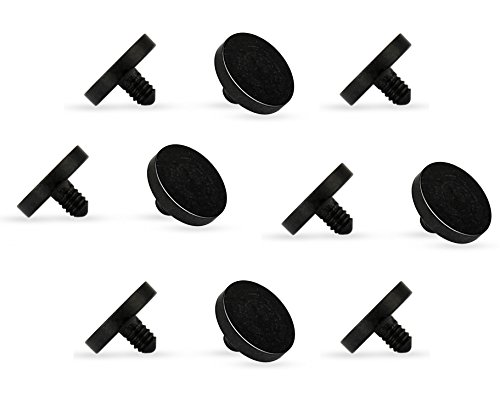 - 10 Pieces - Black Acrylic Dermal Anchor Retainer Tops 4mm, Metal Free, Allergy Free