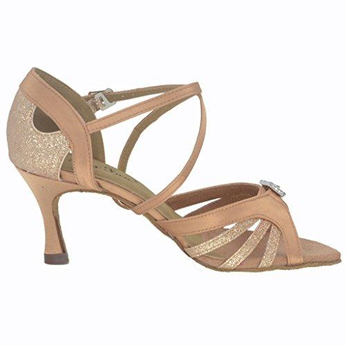 Jig Foo Sandalen offene Latin Salsa Tango Ballroom Dance Schuhe für Frauen mit 7cm Ferse