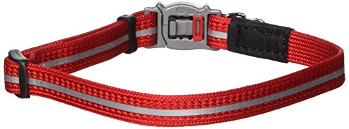 Breakaway Safety Nylon Cat Collar (Rogz Reflective Nylon Cat Collar with Breakaway Clip and Removable Bell, fully adjustable to fit most breeds, Red)