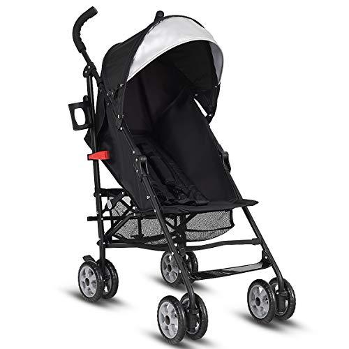 INFANS Lightweight Baby Umbrella Stroller, Foldable Infant Travel Stroller with 4 Position Recline, Adjustable Backrest, Cup Holder, Storage Basket, UV Protection Canopy, Carry Belt (Black)