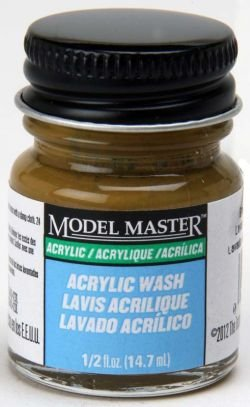 Acryl Paint 1/2 ounce Flat Brown Oak Detail Wash (Model Master Paint Brush)