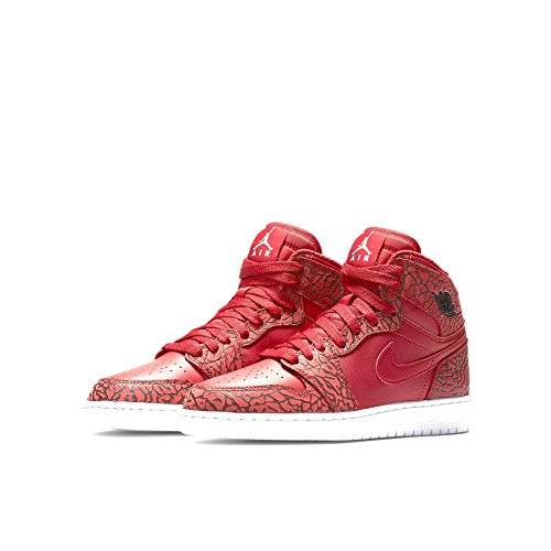 Nike Air Jordan 1 Retro Hi Prem Bg, Zapatillas de Baloncesto para Niños Rojo / Blanco (Gym Red / White-Team Red-White)
