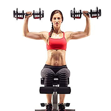 Popsport Adjustable Dumbbell Series Fitness Dumbbell Standard Adjustable Dumbbell with Handle and Weight Plate for Home Gym System- Building Muscle