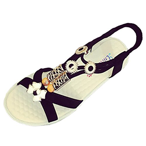 Sentao Mujer Sandalias Verano Estilo Playa Zapatos Bohemia Sandalias Punta Abierta Zapatos Negro