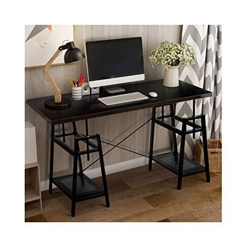 - Height Adjustable Computer Desk with Storage Shelves, (Black) (Color : Black)