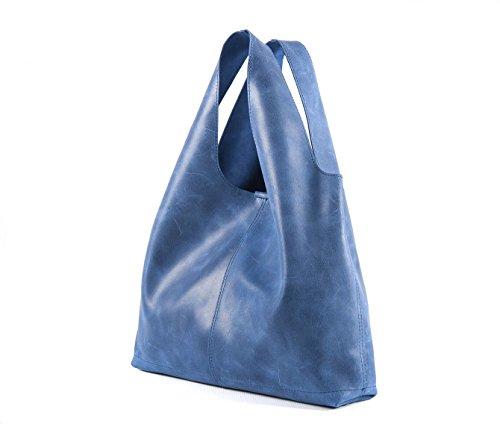 Arianna in da effetto Passionebags donna sacca sfoderata sacca a blu Borsa vera pelle in Italy made vintage ZqxZprt