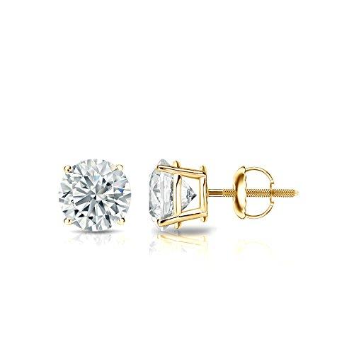 IGI Certified 18k Yellow Gold 4-Prong Basket Round Diamond Stud Earrings (3/4 ct, O.White, I2-I3)