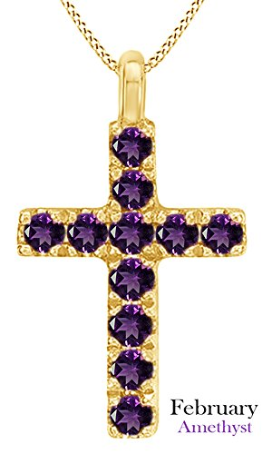 AFFY Round Cut Simulated Amethyst Cross Pendant Necklace in 14k Yellow Gold Over Sterling Silver