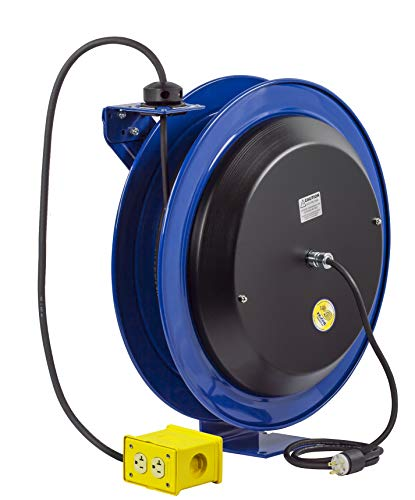 Coxreels EZ-Coil Safety Series Power Cord Reel with Quad Receptacle - 100 Ft., Model# EZ-PC24-0012-B