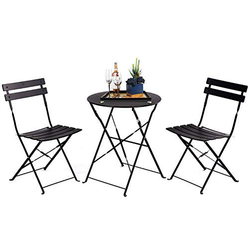 Grand patio 3pc Metal Folding Bistro Set, 2 Chairs and 1 Table, Weather-Resistant Outdoor/Indoor Conversation Set for Patio, Yard, Garden-Black