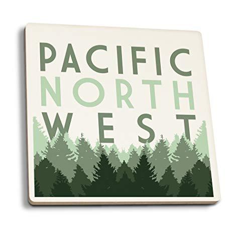 - Lantern Press Pacific Northwest - Pine Trees (Set of 4 Ceramic Coasters - Cork-Backed, Absorbent)