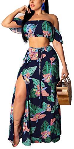 Womens Summer 2 Piece Outfits Floral Beach Crop Top and Side Slit Skirt High Split Maxi Dresses Skirt Set