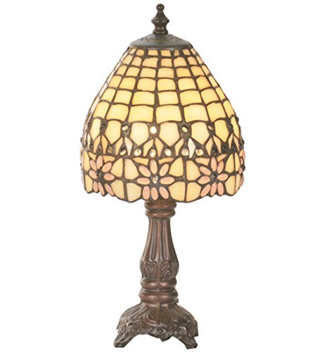 [Tiffany Style Stained Glass Victorian Flourish Mini Table Lamp] (Victorian Flourish Stained Glass Window)