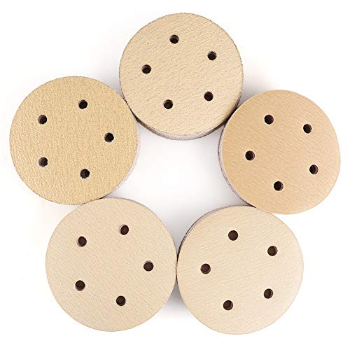 5 Inch 5 Holes Sanding Discs, 100PCS 60 80 120 150 220 Grit Sandpaper Assortment - LotFancy Hook and Loop Orbit Sander Sand Paper