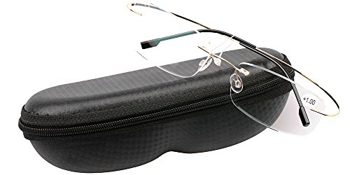 SOOLALA High End Lightweight Titanium Stainless Steel Rimless Reading Glasses, Gold, - Light Weight Glasses