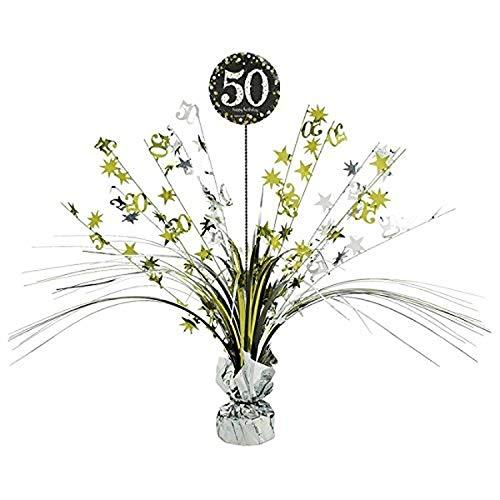 Decoracion de cumpleanos para Fiesta de 50 cumpleanos, 1 Pieza, decoracion de Mesa, Cascada, Dorado, Negro y Plateado, Juego de decoracion de Fiesta Happy Birthday