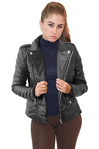 Womens Faux Leather Zip Up Moto Biker Jacket JK5207SX BROWN 2X