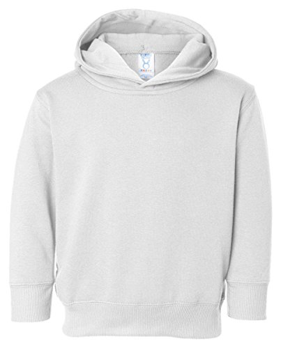 (Rabbit Skins Toddler Ribbed Pockets Fleece Hooded Sweatshirt, White, 5/6)