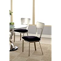 Furniture of America Alvados Rectangular Keyhole Design Dining Chair, Set of 2