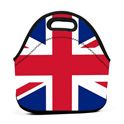 Lunch Tote Bag Union Jack Flag Graphic Funny Reusable Neoprene Insulated Thermal Outdoor Picnic Lunchbox for Men Women
