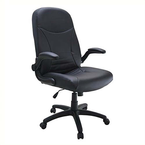 (Tiffany Office Furniture 6446AGBLT Big & Tall Executive Swivel/Tilt Chair with Pivot Arms, Black Lea )
