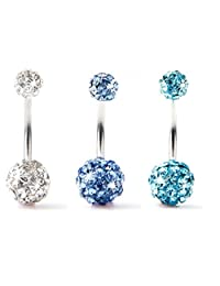 "BODYA Lot of 3 Pieces Belly Ring Double Ball Full Swarovski Crystals Belly Button Rings Navel Bar 14G (1.6mm) 7/16""(11mm) (Clear+Light Blue+Turquoise)"