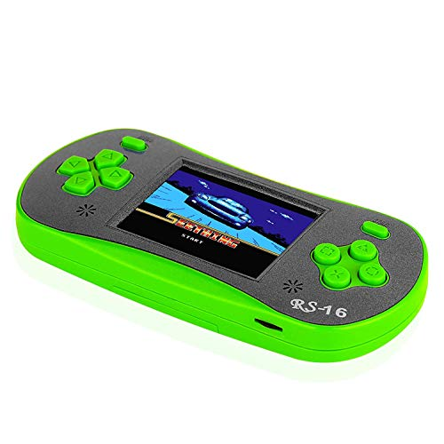 FAMILY POCKET RS-16 Children's Handheld Game Console Portable Video Game Retro Game Console with 2.5-inch LCD Monitor Built-in 260in1 Classic Video Game, Back to School Gifts-Green (Game Lcd Handheld)