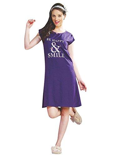100% coton Ladies Nuisette Imprimé à manches courtes Summer Violet Nighty