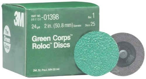 3M Green Corps 264F Coated Aluminum Oxide Quick Change Disc - 24 Grit - 2 in Dia - 01398 [PRICE is per DISC]
