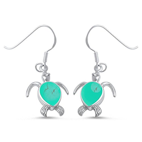 Green Turquoise Turtle .925 Sterling Silver Fishhook Dangle Drop Earrings (Silver Turquoise Earrings Turtle Sterling)