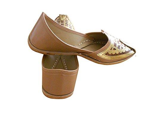 Herren indischen KALRA Schuhe Hochzeit Handgemachte Creations Traditionelle Braun Kunstleder aqx65xUZw