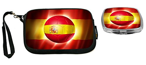 Rikki Knight Brazil World Cup 2014 Spain Team Football Soccer Flag Design Neoprene Clutch Wristlet with Matching Square Compact Mirror by Rikki Knight