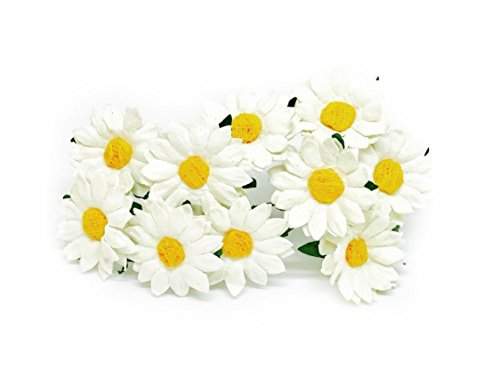 3.5cm White Yellow Paper Daisies with Wire Stems Mulberry Paper Flowers Floral Crown Flowers Miniature Flowers For Crafts Artificial Flowers, 20 Pieces