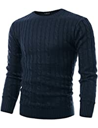 Mens Slim Fit Cable Knit Long Sleeve Crew-Neck Pullover Sweater