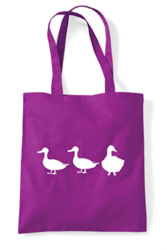 Bag Cute Funny Goose Themed Game Children's Duck Silhouette Animal Tote Shopper Magenta wTRS6qnC4