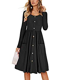 Women's Dresses Long Sleeve Casual Button Down Swing Midi Dress with Pockets