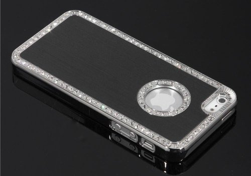Apple Iphone 6/6s Deluxe Black brushed aluminum diamond case bling cover for Apple Iphone 6/6s (4.7 inch)