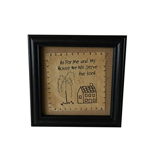CVHOMEDECO. Primitives Vintage As for me and My House we Will Serve The Lord Stitchery Frame Wall Hanging Decoration Art, 8