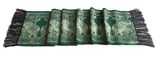Lupadu Thai Style Green Table / Bed Runner With Giant Gold Elephants Design by Lupadu