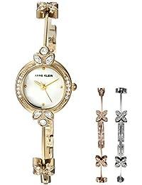 Women's Swarovski Crystal Accented Gold-Tone Watch and Bangle Bracelet Set