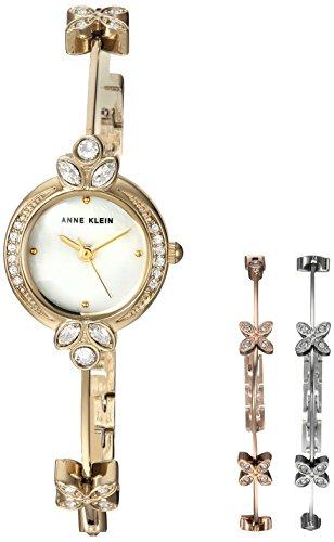 Anne Klein Women's  Swarovski Crystal Accented Gold-Tone Watch and Bangle Bracelet Set