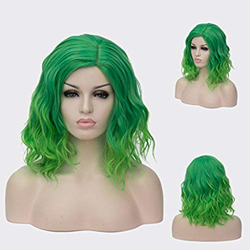 Wavy Green Wigs Middle Part with Bangs Synthetic Hair short Wigs Curly Women's (A)