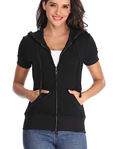 MISS MOLY Women's Short Sleeve Hoodie Full Zip Up Thin Cotton Slim Fit Sweatshirt Kanga Pocket Black 2XL