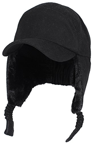 EASTER BARTHE Womens Mens Winter Warm Premium Wool Woolen Peaked Baseball Cap With Faux Fur Fold Earmuffs Earflap Waterproof Hat Visor Cap, Multicolor (Black) (Womens Earflap)