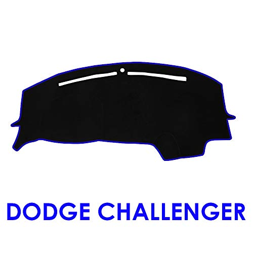 JIAKANUO Dash Cover Fit for Dodge Challenger 2015-2018,Dashboard Mat Sunshield Protector Pad Non-Slip,Extra Thick, Anti-Glare (Black-Blue MR-012)